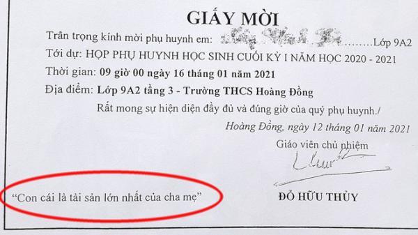 Lạng Sơn: Ghi 'Con cái là tài sản lớn nhất của cha mẹ' lên giấy mời họp phụ huynh, thầy giáo bị phê bình