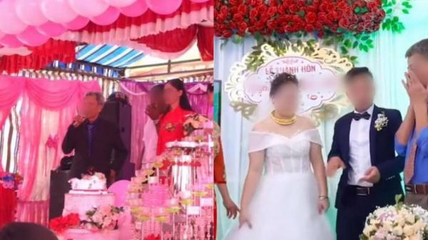 Đứng trên sân khấu ngày con về nhà chồng, bố liên tục lấy tay gạt nước mắt, thái độ của cô dâu gây tranh cãi