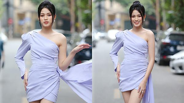 Hoa hậu Đỗ Thị Hà diện váy lệch vai khoe vóc dáng thon nuột