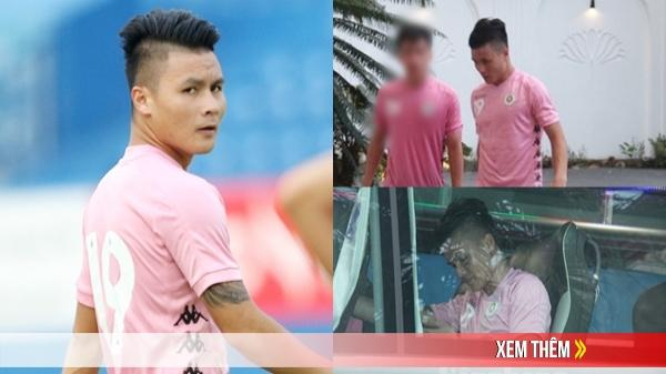 Lần đầu lộ diện sau sự cố bị phát tán tin nhắn, Quang Hải cúi gằm mặt đi vào khách sạn, né tránh camera