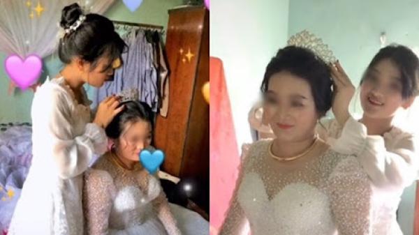 Con gái tự tay trang điểm, sửa soạn váy cưới tiễn mẹ đi lấy chồng